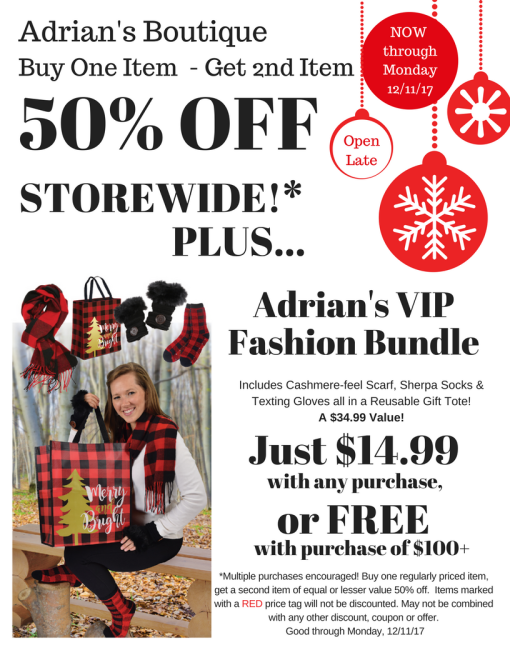 2017 BOGO 50% off Holiday Ad for Hutch News