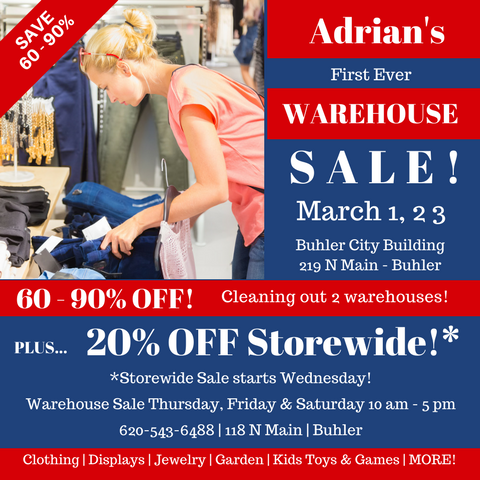 Adrian's 2018 Warehouse Sale Postcard FRONT!