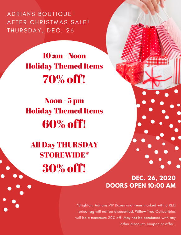 After Christmas Sales December 26 2020 December | 2019 | Adrians Boutique
